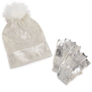 Accessories - Women's silver metallic beanie & glove set